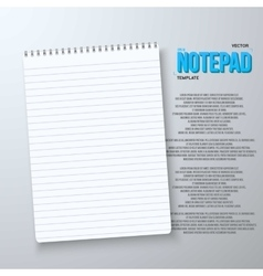 Realistic Notepad Office Equipment White vector
