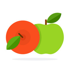 red and green apples with a stem and leaves flat vector image