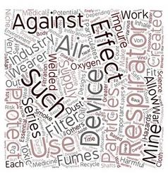 Respirators 101 text background wordcloud concept vector