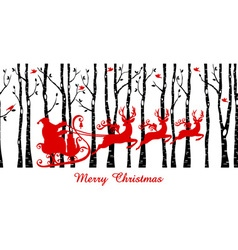 Santa in birch tree forest vector