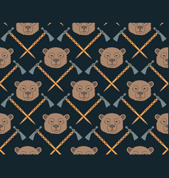 Seamless native american pattern with bears and vector