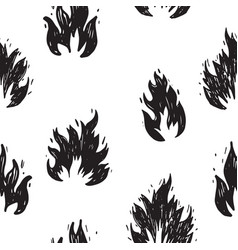 seamless pattern hand drawn doodle fire vector image
