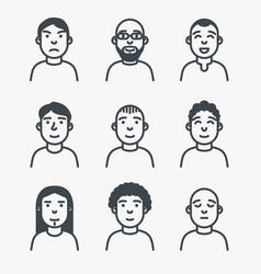 set line avatars vector image