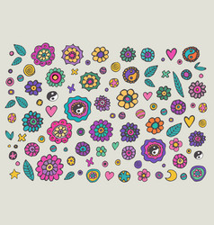 Set of colorful hippie flowers vector