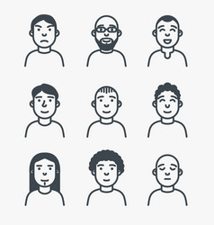 set of line avatars vector image