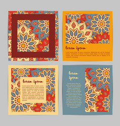 set of square cards with hand drawn mandala vector image