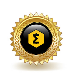 Smartcash cryptocurrency coin gold badge vector