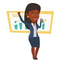 Successful businesswoman celebrating success vector