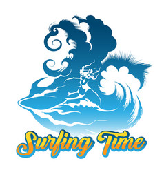 surfing time vector image