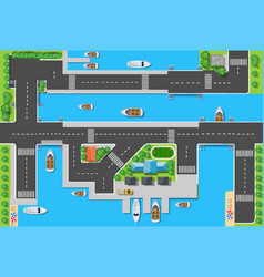 top viewport marinas with bridges roads vector image