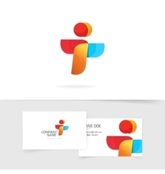 Two element abstract logo and business card vector