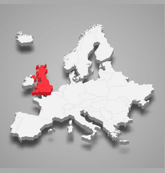 United kingdom country location within europe 3d vector