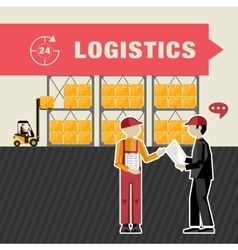 Warehousing and logistics processes vector