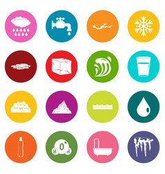water icons many colors set vector image