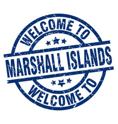 Welcome to marshall islands blue stamp vector
