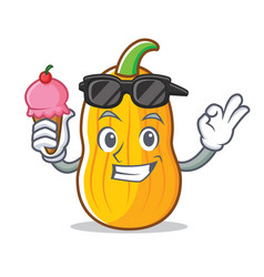 With ice cream butternut squash character cartoon vector
