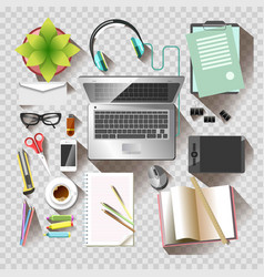 Work desktop office workplace stationery elements vector
