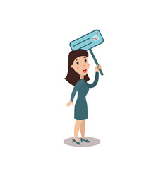 young woman character holding placard election vector image