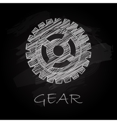 Gear charcoal silhouette vector image vector image