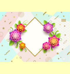 greeting card with glitter gold frame and flowers vector image vector image