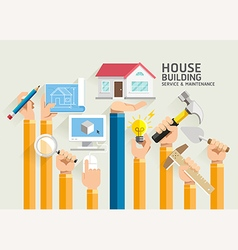House Building Service and Maintenance vector image vector image