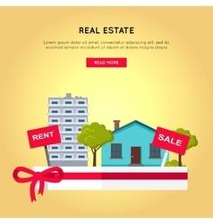 Real Estate Web Banner in Flat Design vector image vector image