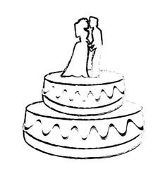 wedding cake couple dessert sketch vector image