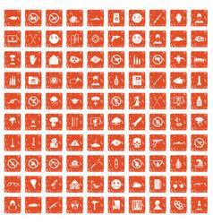 100 tension icons set grunge orange vector image vector image