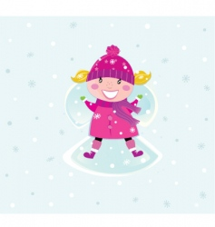 Christmas girl in pink costume vector image vector image