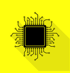 cpu microprocessor black icon with vector image