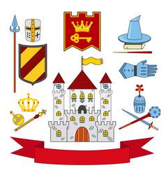 kingdom set - castle lance shield knights helmets vector image