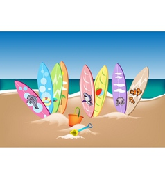 Set of Surfboards on A Beach vector image