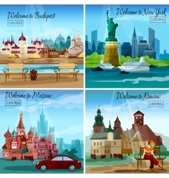 Famous Cities Set vector image vector image
