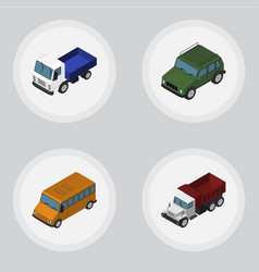 Isometric transport set of freight autobus lorry vector