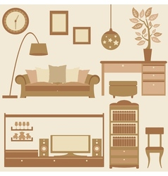 Set of furniture in livingroom vector image