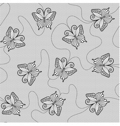 black lace seamless pattern with butterflies vector image