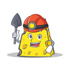 Miner cheese character cartoon style vector