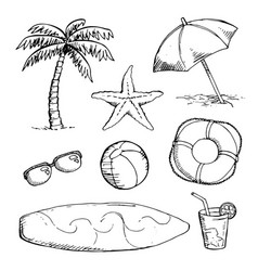 Set of bright summer doodle sticker hand draw vector
