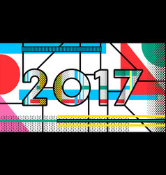 2017 new year pop art typography retro design vector image