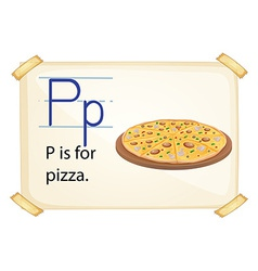 A letter p for pizza vector