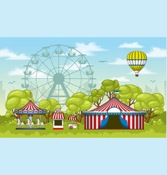 an amusement park in summer vector image