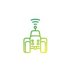 Autonomous tractor line icon vector