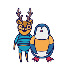 Back to school education deer and penguin with vector
