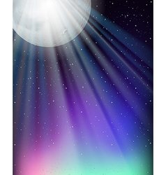 Background design with fullmoon and stars vector