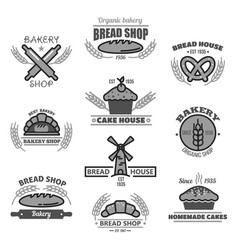 Bakery icons of bread wheat ears and mill vector