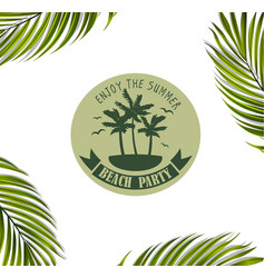 Banner with palm leaves vector