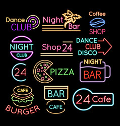 bar dance club cafe neon signs isolated on black vector image