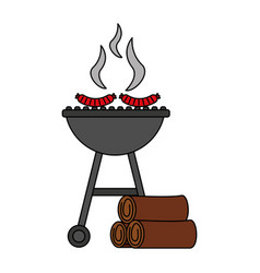 barbecue grill with sausages and wooden vector image