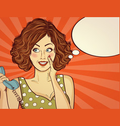 Beautiful red-haired lady speaks to a retro phone vector