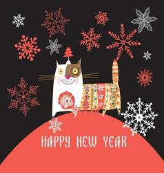 Beautiful Russian cat Happy New Year vector